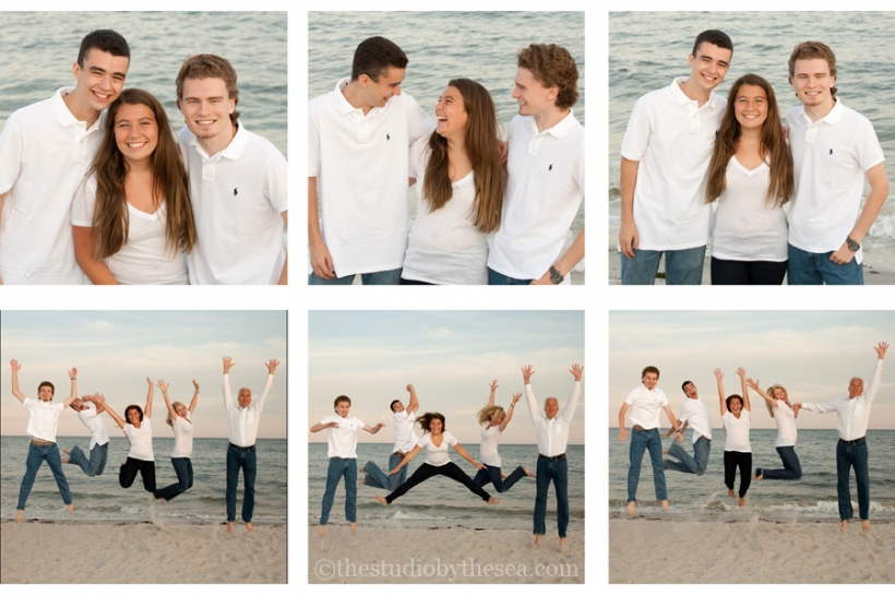 collage of family photos at beach