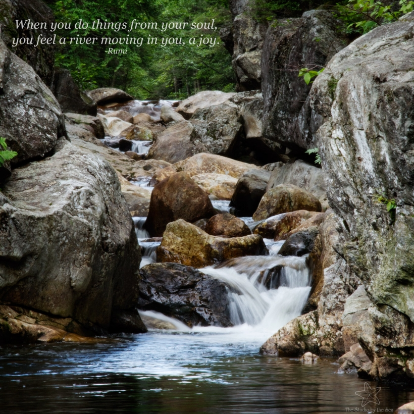 small waterfall with Rumi quote