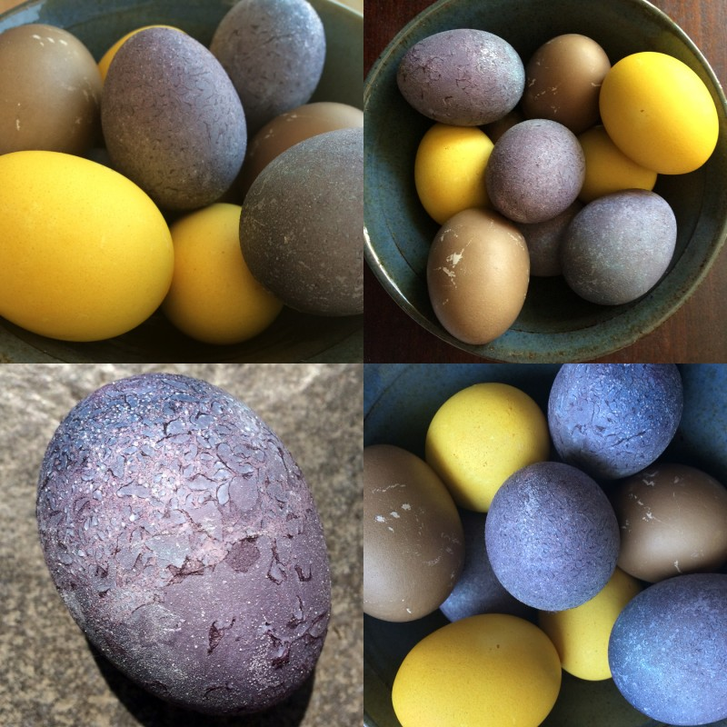 Purple, yellow and brown naturally dyed Easter eggs