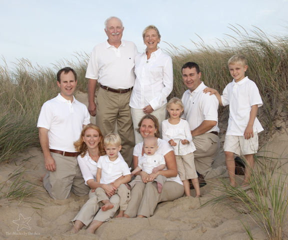Family group photo in dunes