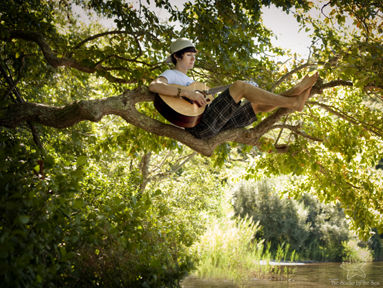 boy sitting in tree playing guitar