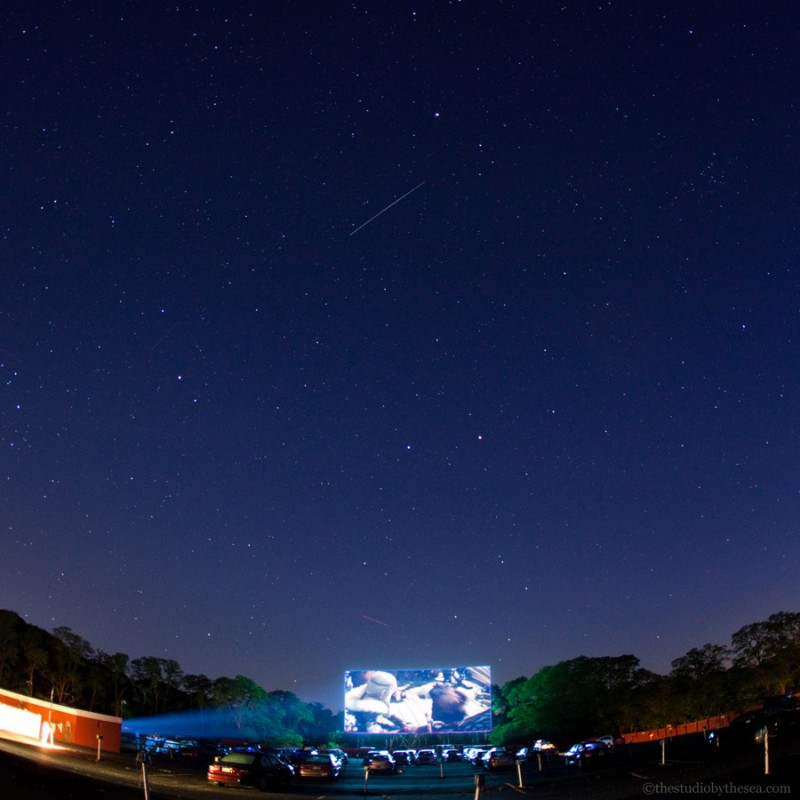 Drive In at night with stars