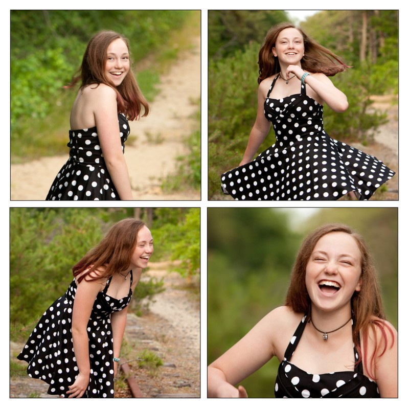 portraits of a teen laughing