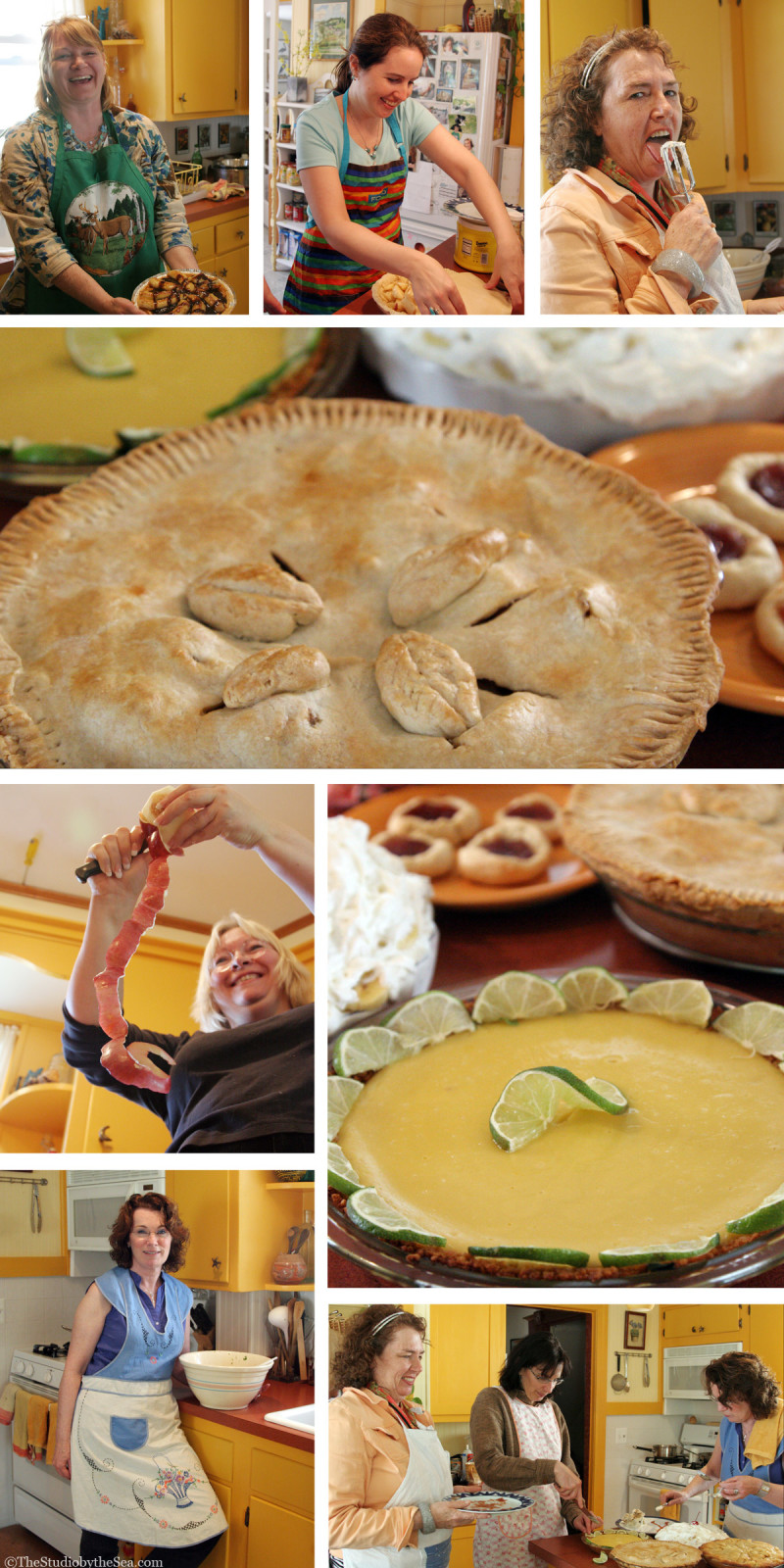 collage of women making pies