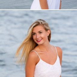 images of senior girl in front of ocean