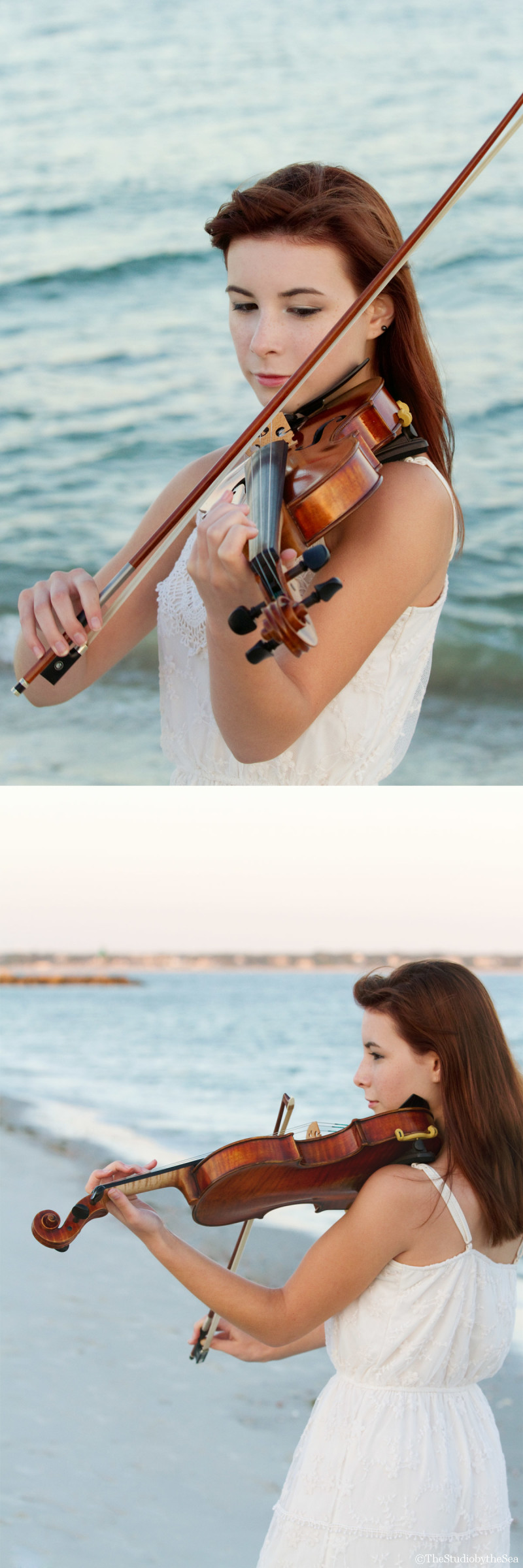 Senior girl playing violin by the ocean